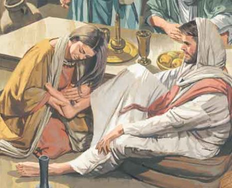 Mary, physically touching Him, washing His feet, anointing Him with oil